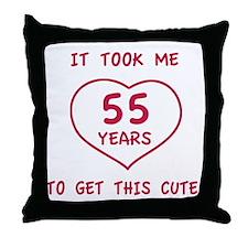 Funny 55th Birthday (Heart) Throw Pillow