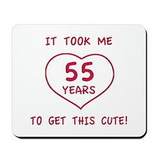 Funny 55th Birthday (Heart) Mousepad