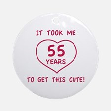 Funny 55th Birthday (Heart) Ornament (Round)