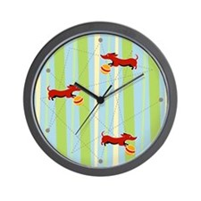 Busy Wiener dachshund wall clock