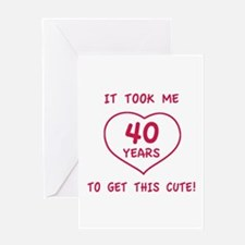 Funny 40th Birthday (Heart) Greeting Card