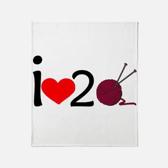 i heart 2 knit Throw Blanket