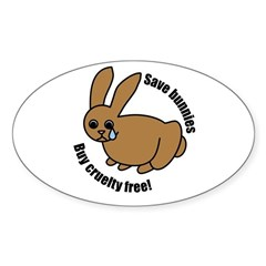 Save Bunnies Cruelty-Free Oval Decal