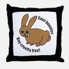 Save Bunnies Cruelty-Free Throw Pillow