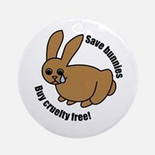 Save Bunnies Cruelty-Free Ornament (Round)