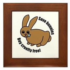Save Bunnies Cruelty-Free Framed Tile