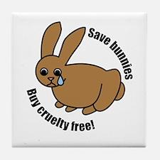 Save Bunnies Cruelty-Free Tile Coaster