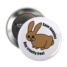 """Save Bunnies Cruelty-Free 2.25"""" Button (10 pack)"""