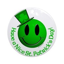 St. Pats Smiley Ornament (Round)