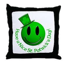 St. Pats Smiley Throw Pillow