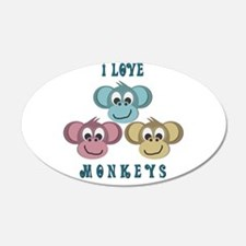 I love Monkeys Retro Style 22x14 Oval Wall Peel