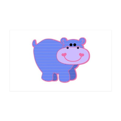 Blue Striped Hippo 38.5 x 24.5 Wall Peel