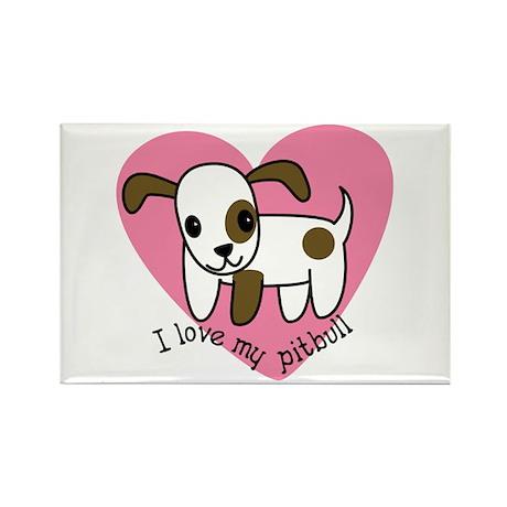 I Love My Pitbull Rectangle Magnet (100 pack)