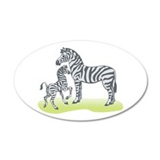 Mommy and Baby Zebra 22x14 Oval Wall Peel