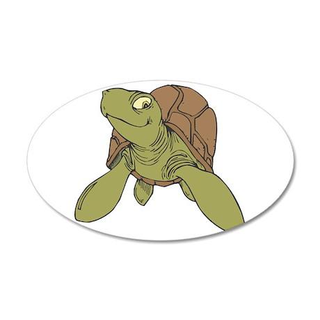 Grinning Sea Turtle 38.5 x 24.5 Oval Wall Peel