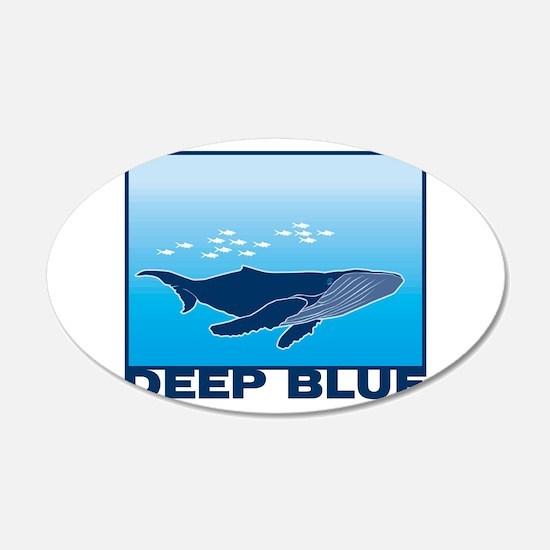 Deep Blue Sea Whale Design 22x14 Oval Wall Peel