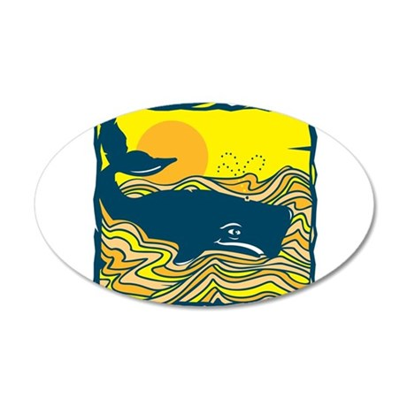 Swimming in Waves Whale Desig 22x14 Oval Wall Peel