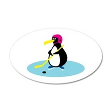Cute Hockey Playing Penguin 22x14 Oval Wall Peel