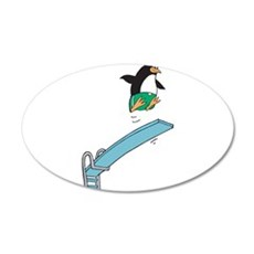 Funny Diving Penguin 22x14 Oval Wall Peel