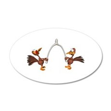Turkeys Making Wish (Wishbone 38.5 x 24.5 Oval Wal