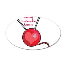 Knitting is Where the Heart I 22x14 Oval Wall Peel