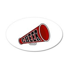 Red Cheer Megaphone 22x14 Oval Wall Peel