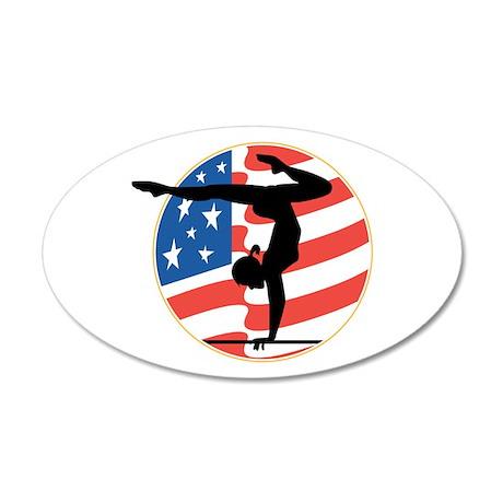 USA Stars and Stripes Gymnast 38.5 x 24.5 Oval Wal