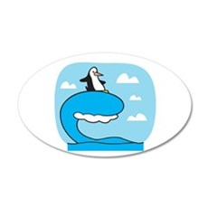 Silly Surfing Penguin 22x14 Oval Wall Peel