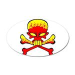 Flaming Skull & Crossbones 38.5 x 24.5 Oval Wa