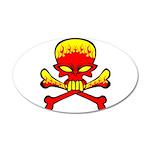 Flaming Skull & Crossbones 22x14 Oval Wall Pee