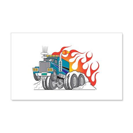 Hot Rod (Flames) 18 Wheeler T 22x14 Wall Peel