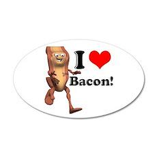 I Heart (Love) Bacon 22x14 Oval Wall Peel