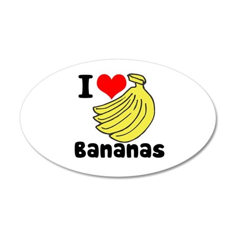I Heart (love) Bananas 38.5 x 24.5 Oval Wall Peel