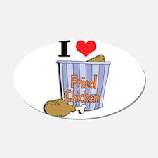 I Heart (Love) Fried Chicken 22x14 Oval Wall Peel