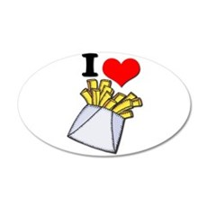 I Heart (love) French Fries 22x14 Oval Wall Peel