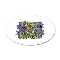 Happy New Year Cheer Design 22x14 Oval Wall Peel