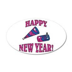 Happy New Year Noise Makers D 22x14 Oval Wall Peel