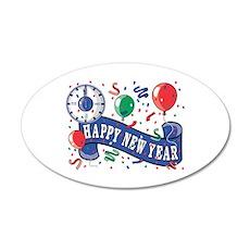 Happy New Year Confetti Desig 22x14 Oval Wall Peel