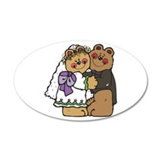 Country Style Bride and Groom 22x14 Oval Wall Peel