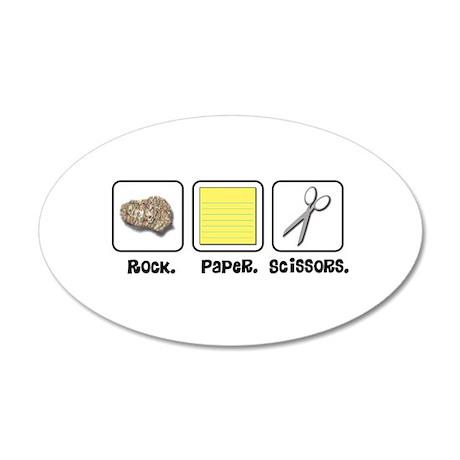 Rock Paper Scissors 38.5 x 24.5 Oval Wall Peel