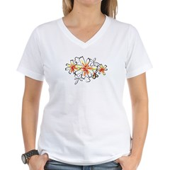 Sketchy Retro Flowers Women's V-Neck T-Shirt