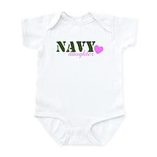Navy Daughter Green & Heart Infant Creeper