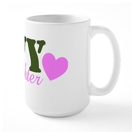 Navy Daughter Green & Heart Large Mug