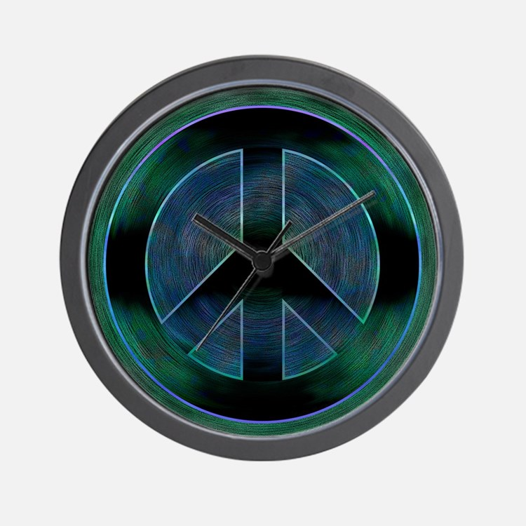 Peace Sign Noir Wall Clock