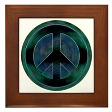 Peace Sign Noir Framed Tile