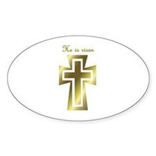 He is risen (cross) Oval Decal