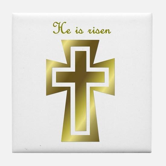 He is risen (cross) Tile Coaster