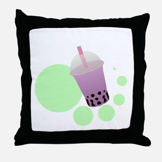 Taro Bubble Tea Throw Pillow