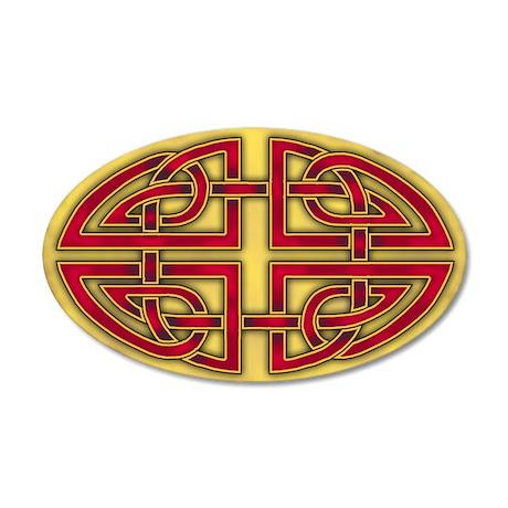 Celtc Red-Gold Knots 38.5 x 24.5 Oval Wall Peel
