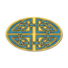 Celtic Blue-Gold Knotwork 22x14 Oval Wall Peel